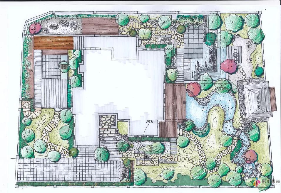 渝北秀野别墅日式庭院设计...